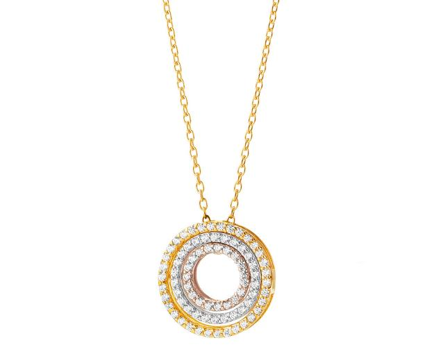 8ct Yellow Gold, White Gold, Pink Gold Necklace with Cubic Zirconia