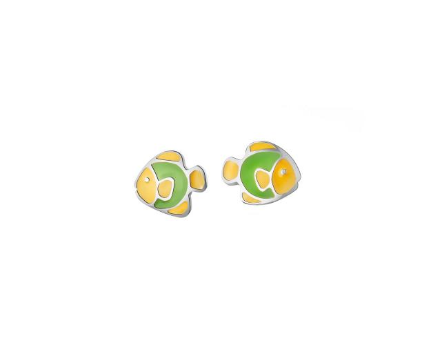 Sterling silver enamel earrings - Fish