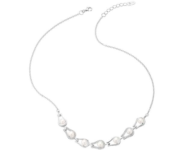 Sterling silver necklace with pearls and cubic zirconia