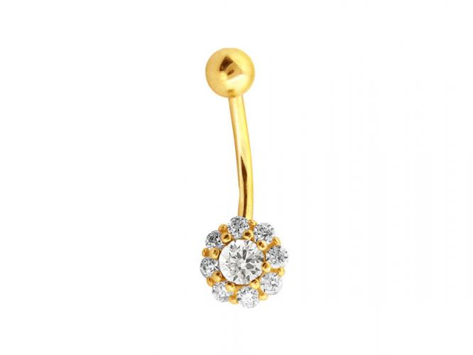 Yellow gold belly button bar