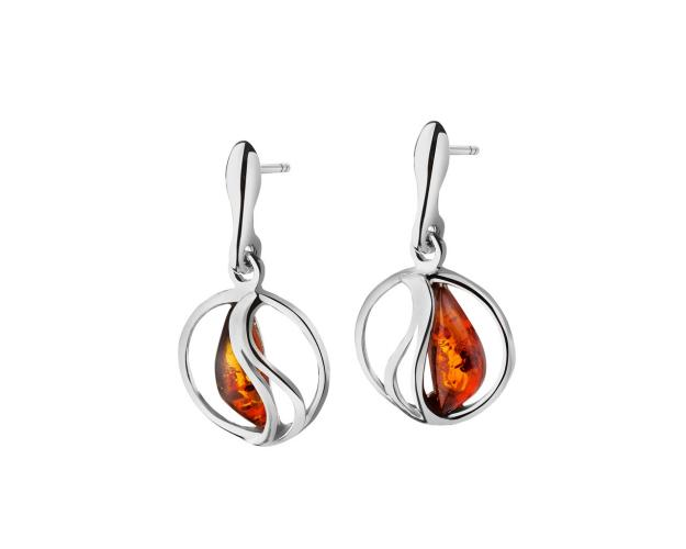 White Silver Earrings with Amber