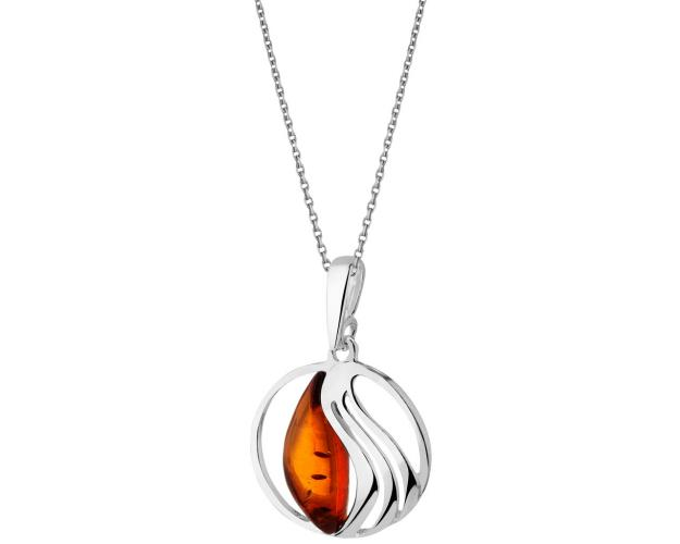 White Silver Pendant with Amber