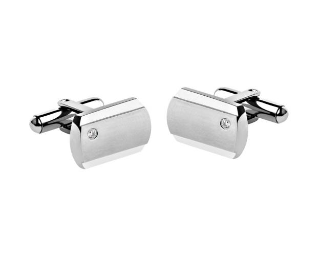Stainless Steel Cufflink with Cubic Zirconia