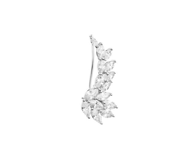 Silver earr cuff with cubic zirconia - left