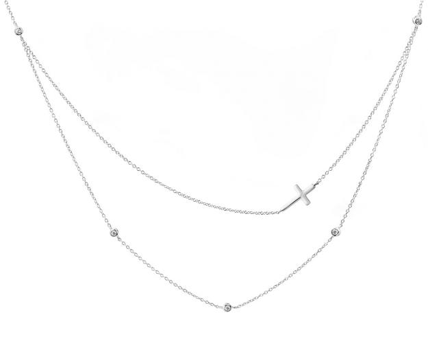 Sterling Silver Necklace with Cross and Cubic Zirconia