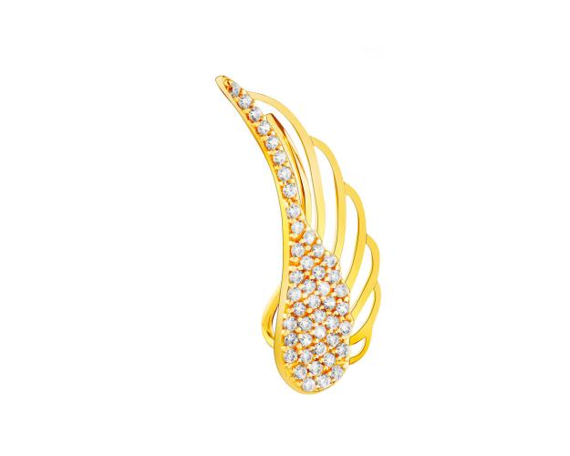 8ct Yellow Gold Ear Cuff with Cubic Zirconia