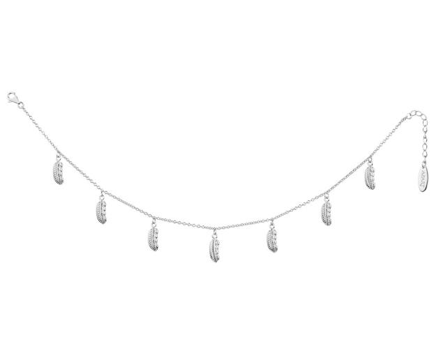 Rhodium Plated Silver Anklet