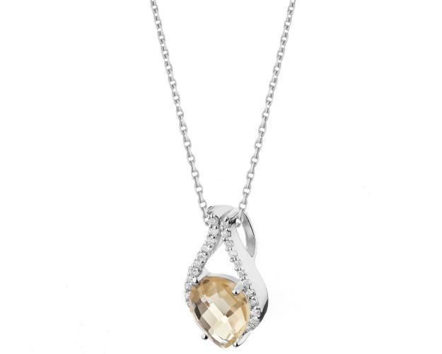 Sterling silver pendant with cubic zirconia & quartz