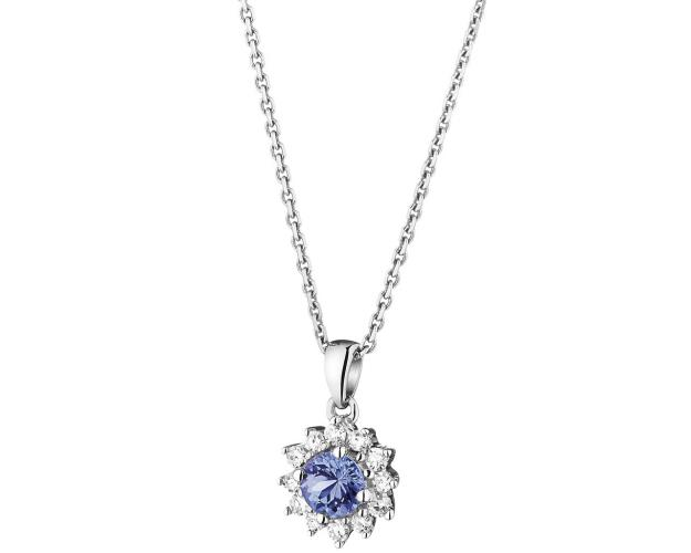 Yellow gold diamond and tanzanite pendant