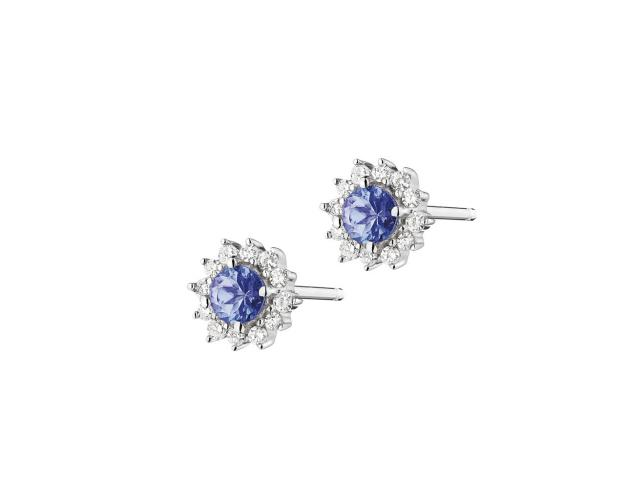 White Gold Diamond & Tanzanite Earrings