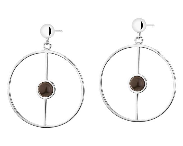 Rhodium Plated Silver Earrings with Onyx