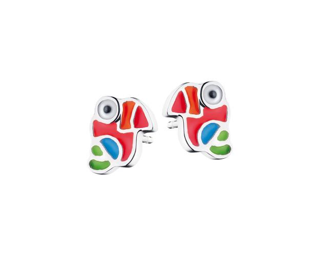 Silver enamel earrings - toucan