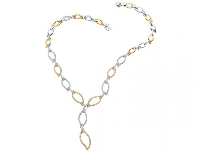 Yellow and white gold necklace with brilliants
