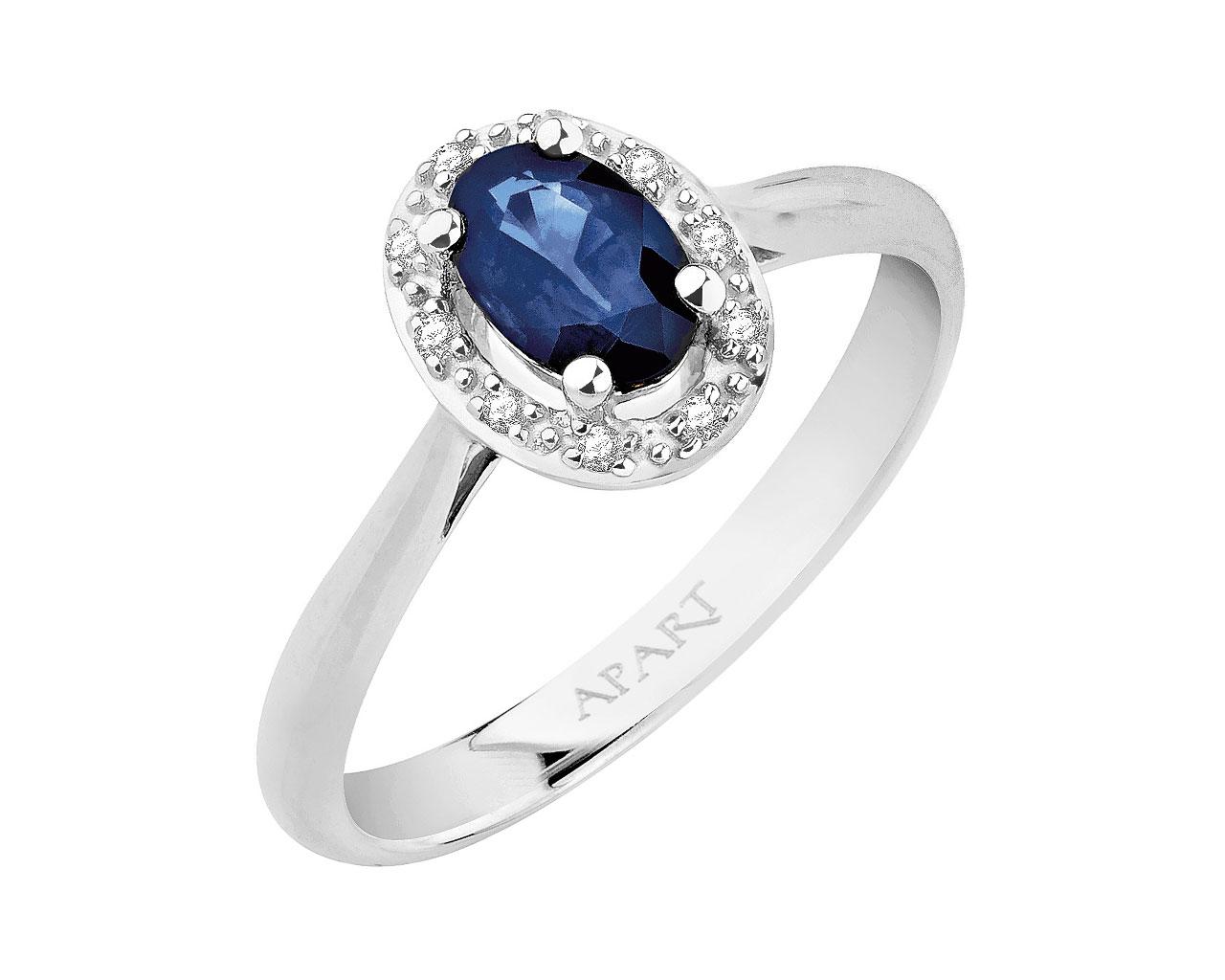 348302ebbbfa Anillo de oro blanco con diamantes y zafiro   Artelioni