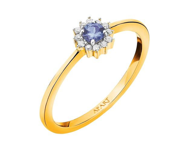 Yellow Gold Diamond & Tanzanite Ring