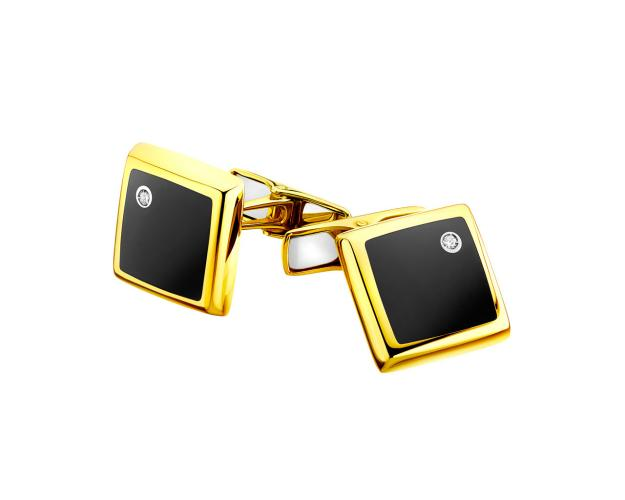 14ct Yellow Gold Cufflink with Diamonds