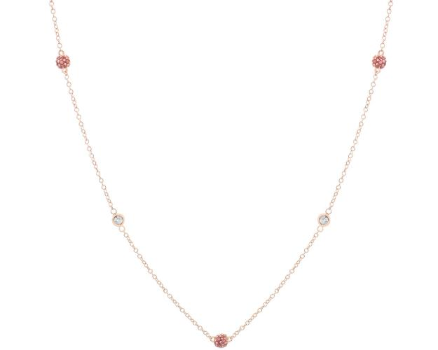 Gold necklace with white and red zircons