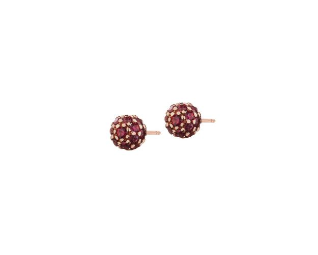 Gold earrings with red zircons