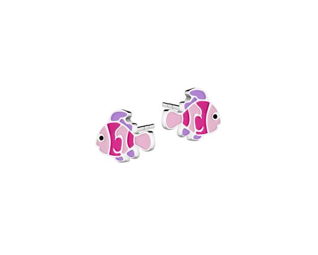 Silver earrings with enamel - Fish