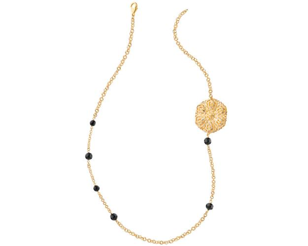 Gold plated bronze necklace with onyx