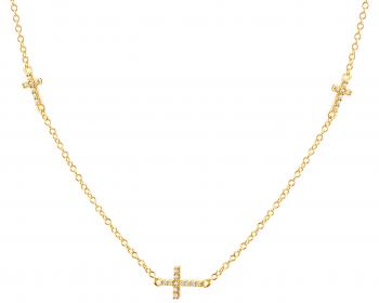 Yellow gold necklace with cubic zirconias