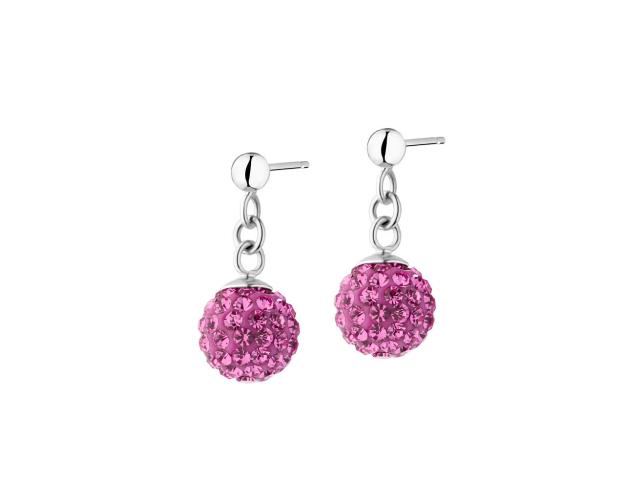 Rhodium Plated Silver Earrings with Crystal