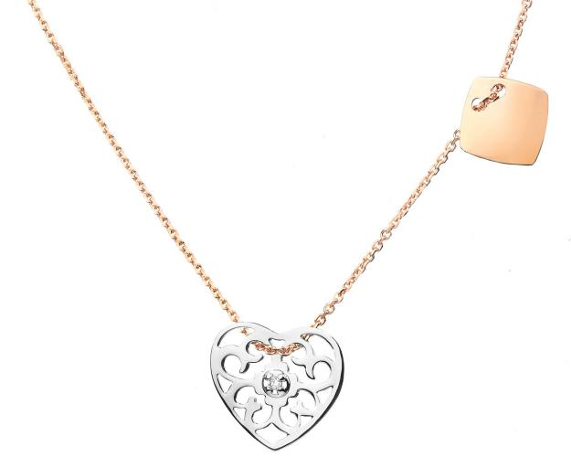 White and pink gold brilliant cut diamond necklace - heart