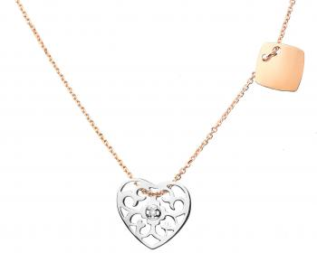 Withe and pink gold brilliant cut diamond necklace