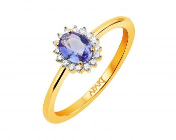 Yellow gold diamond and tanzanite ring