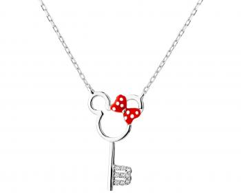 Sterling silver necklace with cubic zirconia and enamel