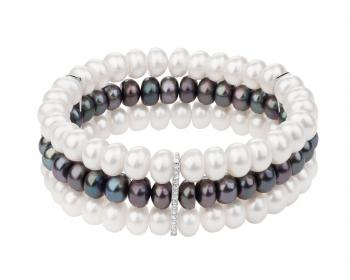Sterling silver bracelet with pearls and cubic zirconia