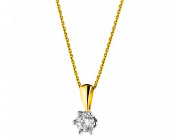 Yellow gold brilliant cut diamond pendant