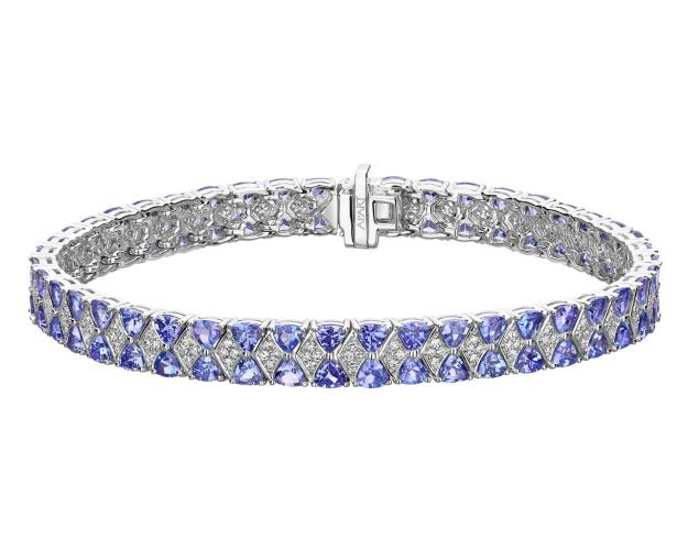 White gold diamond and tanzanite bracelet
