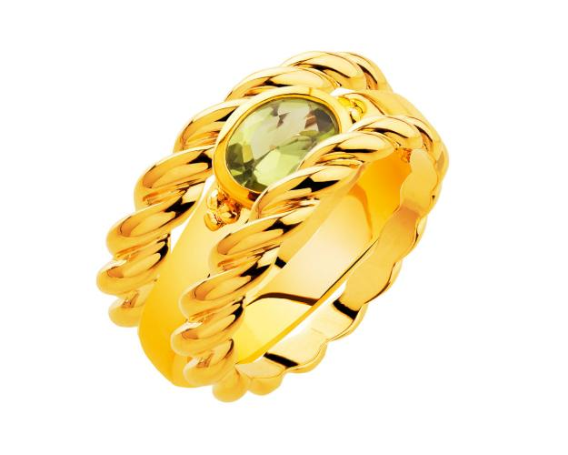 Gold-Plated Bronze Ring with Peridot