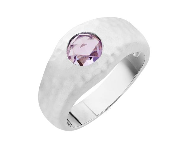 Rhodium-Plated Bronze Ring with Amethyst
