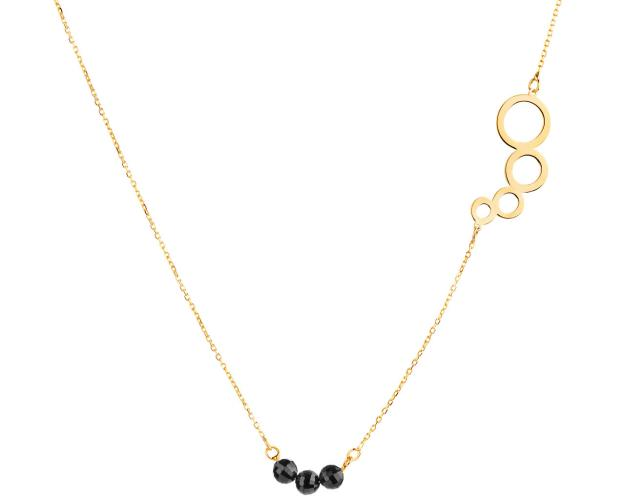 Yellow gold necklace with black cubic zirconia