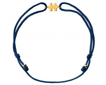 Yellow gold bracelet with navy string