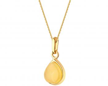 Gold plated silver pendant with amber