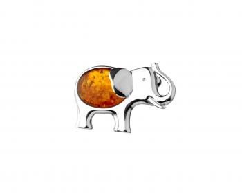 Sterling silver elephant brooch with amber