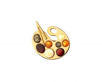 Gold plated silver painting palette brooch with amber