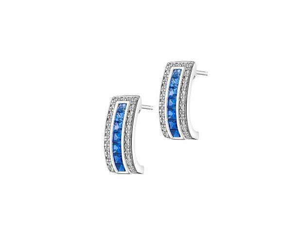 White gold diamond & sapphire earrings