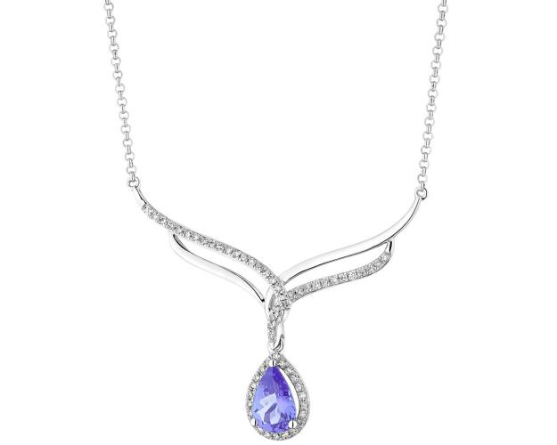 White gold diamond & tanzanite necklace