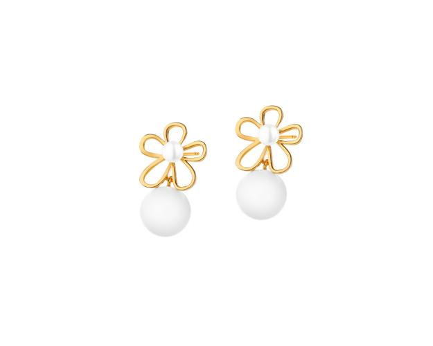 Gold plated brass earrings with artificial pearl