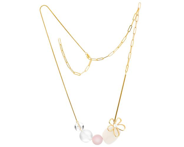 Gold plated brass and pearl necklace