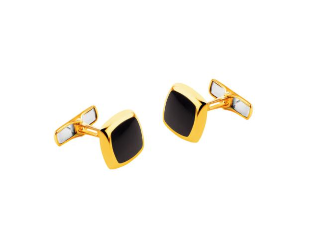 14ct Yellow Gold Cufflink with Onyx