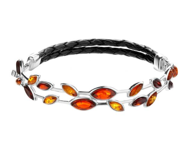 Rhodium Plated Silver Bracelet with Amber