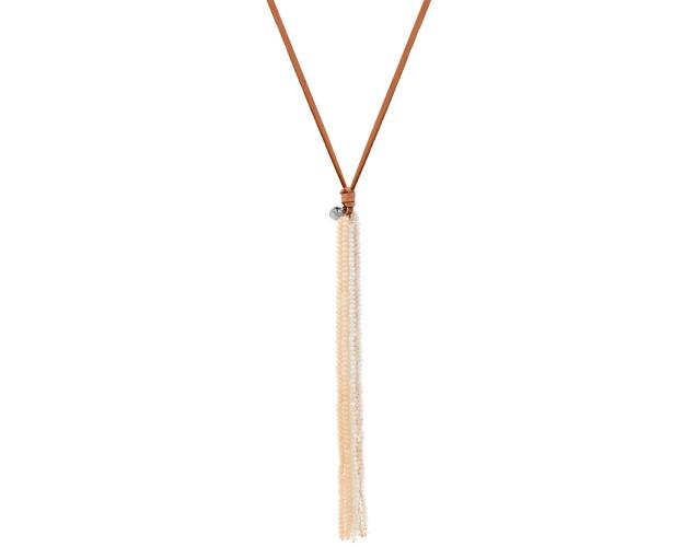 Glass bead tassel pendant necklace