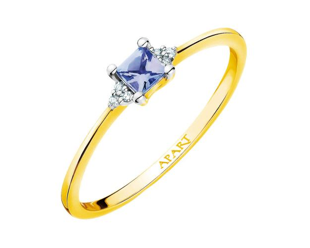 Yellow gold ring with diamond and tanzanite