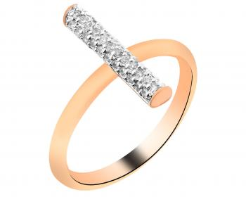 Gold plated brass ring with cubic zirconia