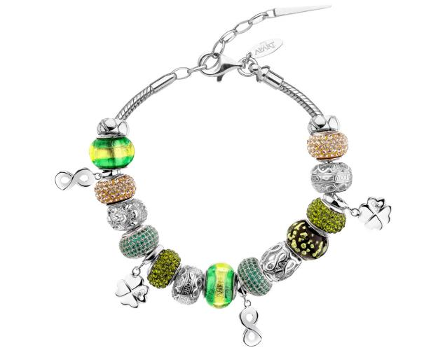 Rhodium Plated Silver Set with Murano Glass